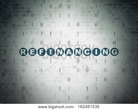 Business concept: Painted blue text Refinancing on Digital Data Paper background with Binary Code