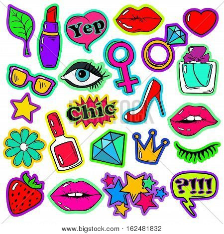 Colorful fun set of girl's fashion stickers icons emoji pins or patches in cartoon 80s-90s comic style.
