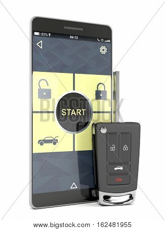 Car key and smartphone with app replacing car key, 3D illustration