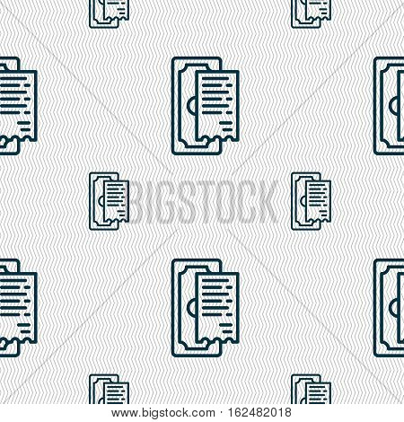 Cheque Icon Sign. Seamless Pattern With Geometric Texture. Vector