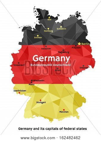 Vector geometric polygonal map of Federal Republic of Germany, painted in the colors of the national flag. Bundesrepublik Deutschland and its capitals of 16 federal states - Bundeslander