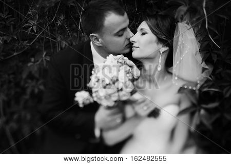 Fiance Kisses A Bride Among The Leafs