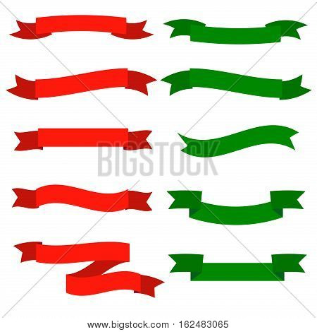 Elegance red and green ribbons anniversary ornate xmas banner sign. Celebration silk gift labels and ribbon. Birthday shiny label holiday element. Decorative party ribbon ornament symbol.