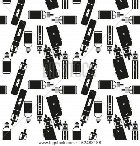 Vector seamless pattern for vape shop and vape service e-cigarette store. Endless vaporizer electronic background. Print fabric vape pattern. Wrapping vaping paper pattern.