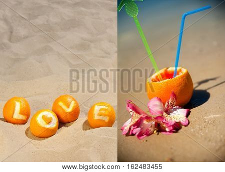 Love And Vacation Concept, Duplex Collage Of Two Pictures - The Carved Inscription Love On Oranges,
