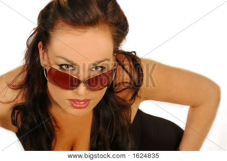Sexy Busty Woman In Sunglasses
