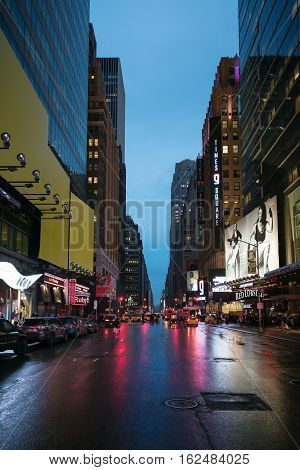 New York City Streets At Evening Time