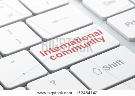 Political concept: computer keyboard with word International Community, selected focus on enter button background, 3D rendering