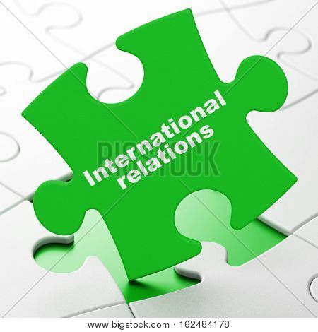 Political concept: International Relations on Green puzzle pieces background, 3D rendering