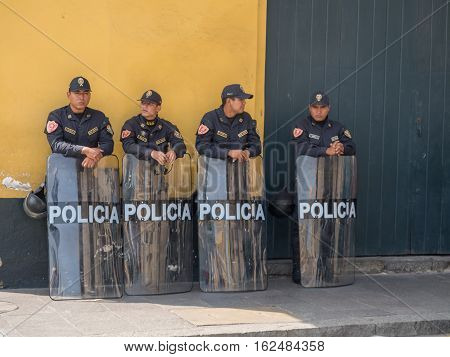 LIma Peru - May 27 2016: Armed riot police on the streets of Lima