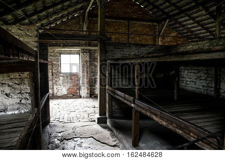 Barrack inside living room at concentration camp Auschwitz Birkenau KZ Poland