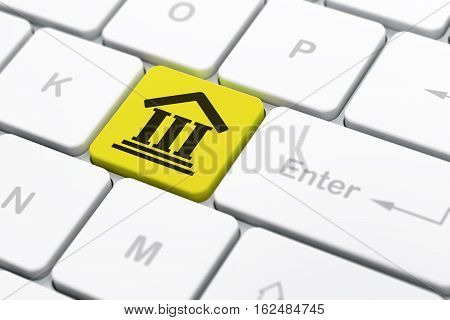 Law concept: computer keyboard with Courthouse icon on enter button background, selected focus, 3D rendering