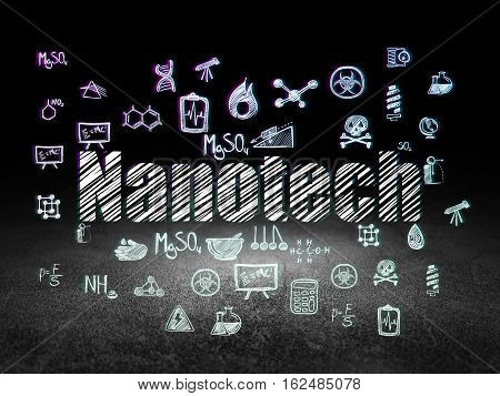 Science concept: Glowing text Nanotech,  Hand Drawn Science Icons in grunge dark room with Dirty Floor, black background