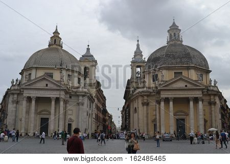 Santa Maria dei Miracoli and Santa Maria in Montesanto (twin churches) in Piazza del Popolo.