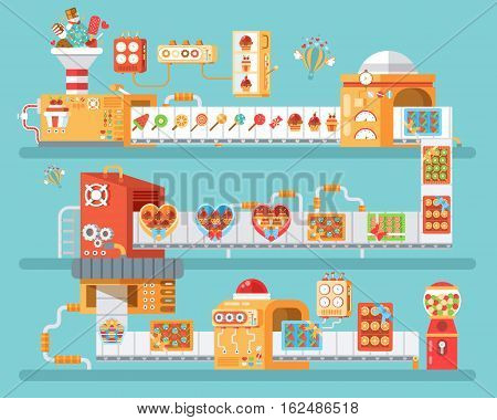 Stock vector vertical illustration of isolated conveyor for production and packaging candies, lollipops and sweets, in flat style on blue background for banner, website, printed materials
