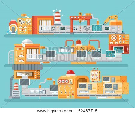 Stock vector vertical illustration of conveyor for assembly and packaging, production of personal computers in flat style on blue background for banners, websites, printed materials, info graphics
