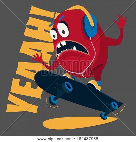 Stunts on a skateboard vector print T-shirt