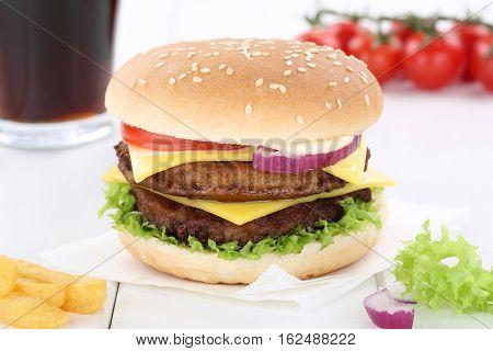 Double Cheeseburger Hamburger Menu Meal Combo Drink