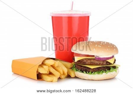 Double Cheeseburger Hamburger And Fries Menu Meal Combo Drink Isolated