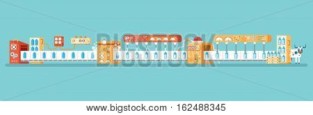 Stock vector horizontal illustration of isolated milk conveyor with packaging and bottling of milk in flat style on blue background for banners, websites, printed materials, infographics