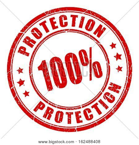 100 protection rubber security stamp vector illustration isolated on white background