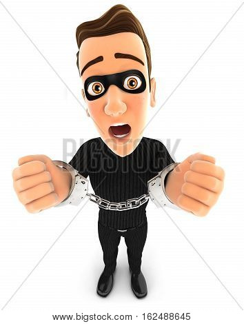 3d thief under arrest and handcuffed illustration with isolated white background