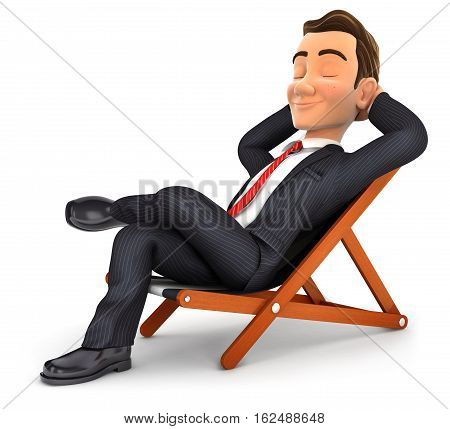 3d businessman relaxing in a deck chair illustration with isolated white background