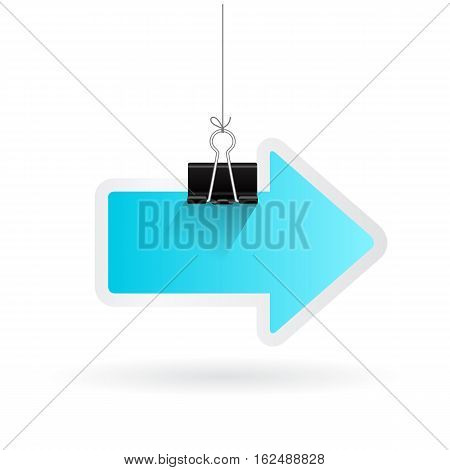 Hanging paper arrow pointer vector illustration isolated on white background