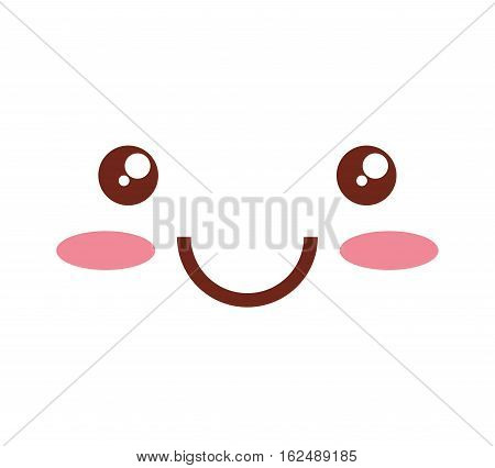 kawaii face emoticon icon vector illustration design
