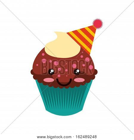 delicious cupcake character kawaii vector illustration design