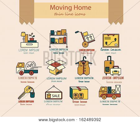 Warehouse logistic thin line icons. Moving home, moving house business services logo. Vector thin line icons.