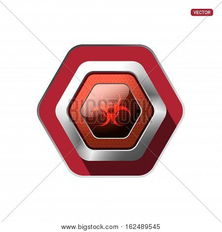 Biohazard red button on the metal base - hexagon vector icon on the red background.