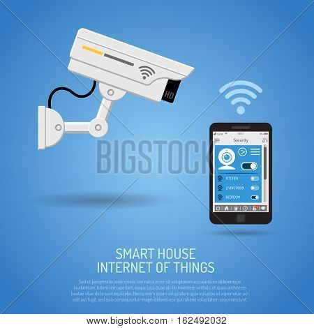 Smart House and internet of things concept. smartphone controls smart home like security camera flat icons. vector illustration