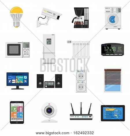 Smart House and internet of things Flat Icons Set with smartphone, tablet, security camera, router light bulb and smart tv. Isolated vector illustration