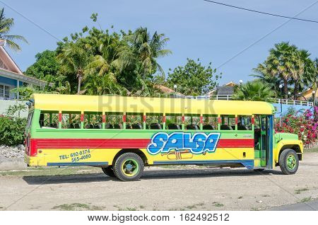 Front And Side View Of Brightly Painted Salsa Bus