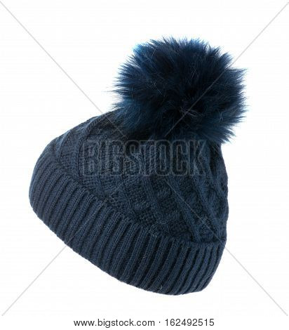 Women's Knitted Hat Isolated On White Background.hat With Pompon.blue Hat.