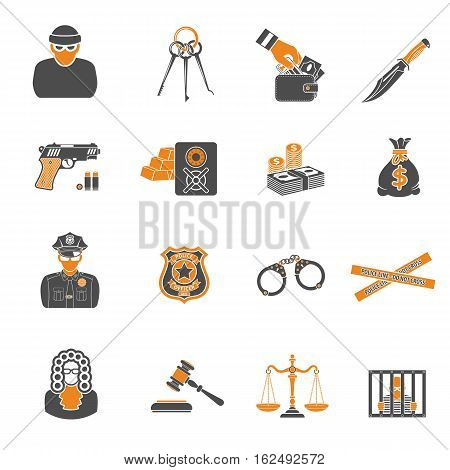 Set Crime and Punishment two color Icons like Thief, Money, Gun, Policeman and judge. isolated vector illustration