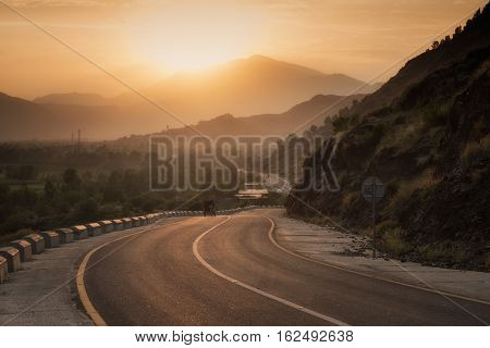 A drive through Swat valley during sunset. Pakistan.