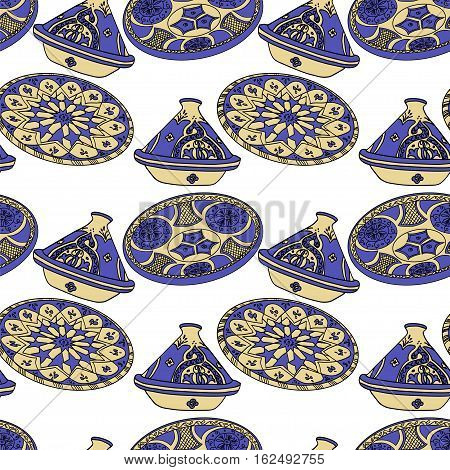 Seamless pattern of blue arabic crockery. Oriental pottery dishes illustration on white background. Moroccan tajine pattern.
