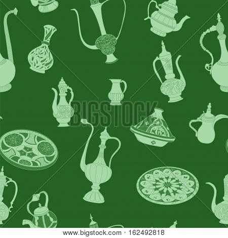 Seamless pattern of arabic crockery. Oriental pottery dishes illustration on green background. Moroccan tajine pattern.