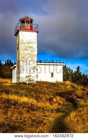 Lighthouse in Saint Martin, New Brunswick, Canada.