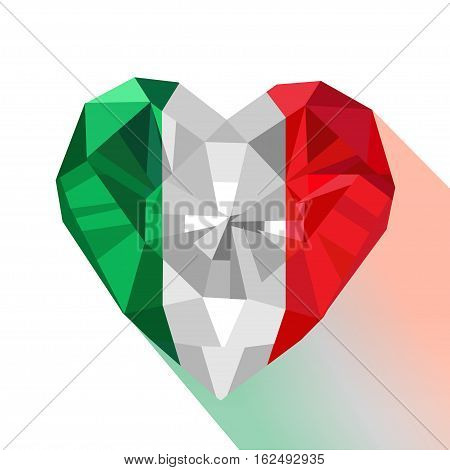 Crystal gem jewelry Italian heart with the flag of the Italian Republic. Flat style logo symbol of love Italy. Republic Day. Europe. January 7 Festival of the Tricolour.
