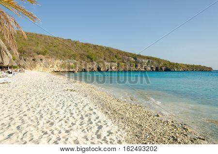 Sandy Beach In Curacao A Caribbean Island