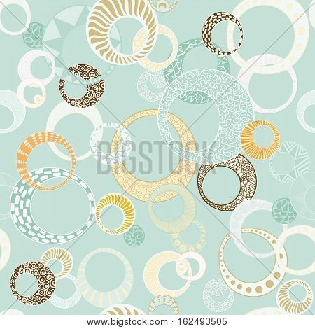 Geometric Circles Seamless Repeating Pattern in Teal