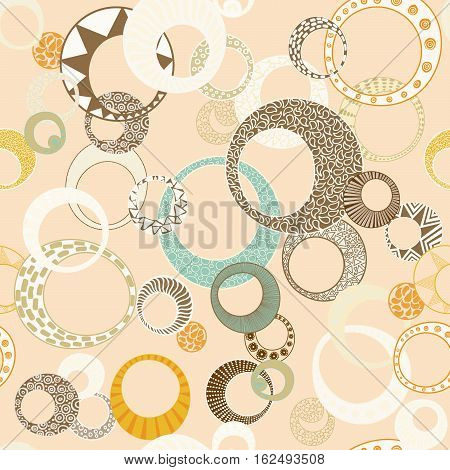 Geometric Circles Seamless Repeating Pattern on Beige