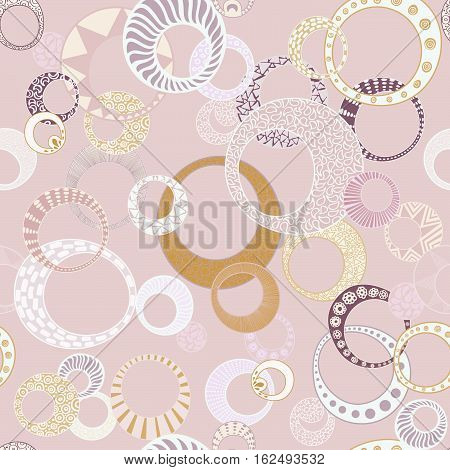 Geometric Circles Seamless Repeating Pattern on light pink
