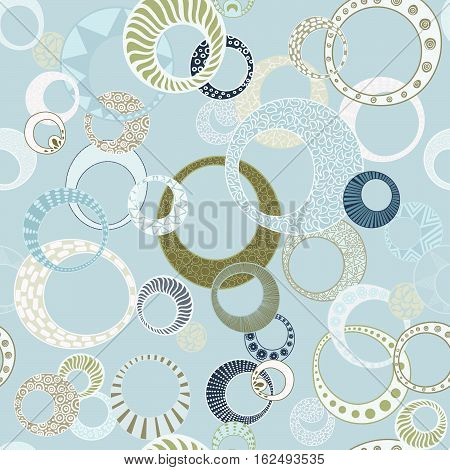 Geometric Circles Seamless Repeating Pattern on Blue