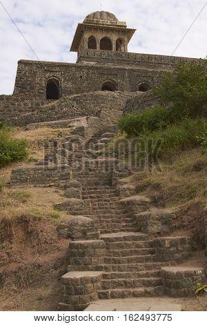 MANDU, INDIA - NOVEMBER 17, 2008: Historic Rani Rupmati's Pavilion inside the hilltop fort of Mandu in Madyha Pradesh, India. Built in stages from 15th century onwards.