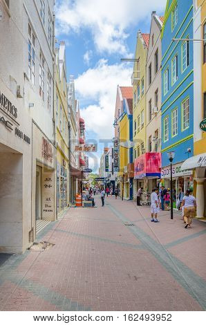 View Of Willemstad Street In Curacao With Its Unique Architecture