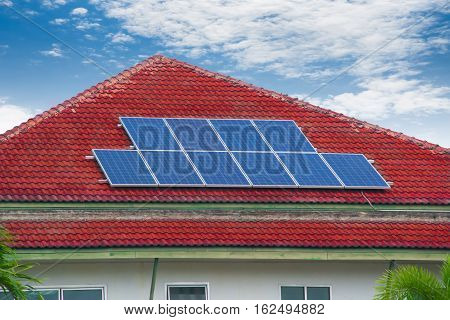 solar cell panel on house's roof green energy